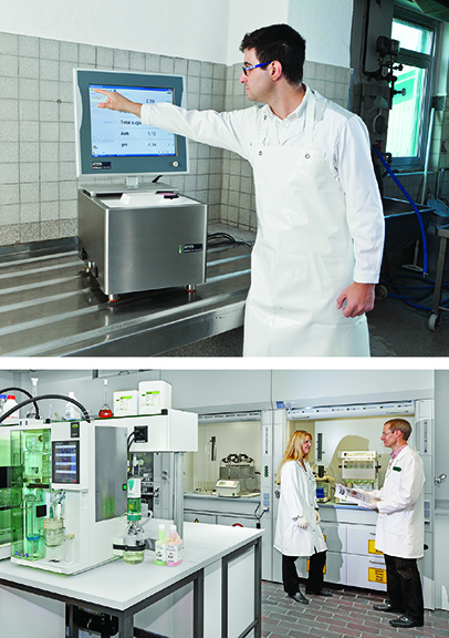 Top: The BUCHI NIRMaster, with IP54 ingress protection and rugged design for immediate analysis of protein and other critical sample properties on the production floor. Bottom: BUCHI Automated Kjeldahl solutions featuring the KjelMaster K-375, the most automated Kjeldahl system on the market today.